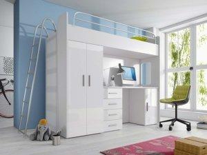 Hochbett mit Schreibtisch und Schrank